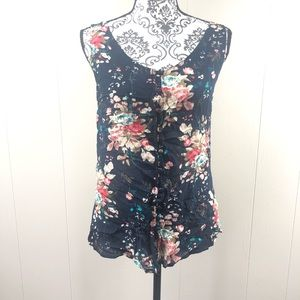 Cute Strappy Navy & Floral Strappy Tank Size L